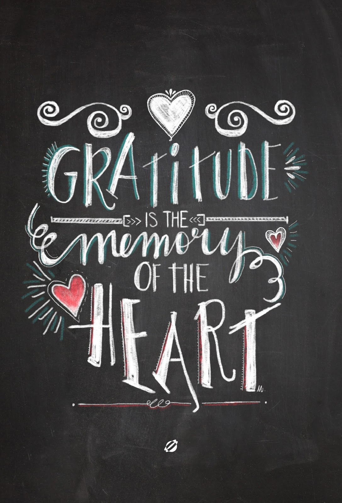 LostBumblebee ©2014- Handlettered by Melissa- Gratitude is the memory of the heart. Free Printable- Personal Use Only.
