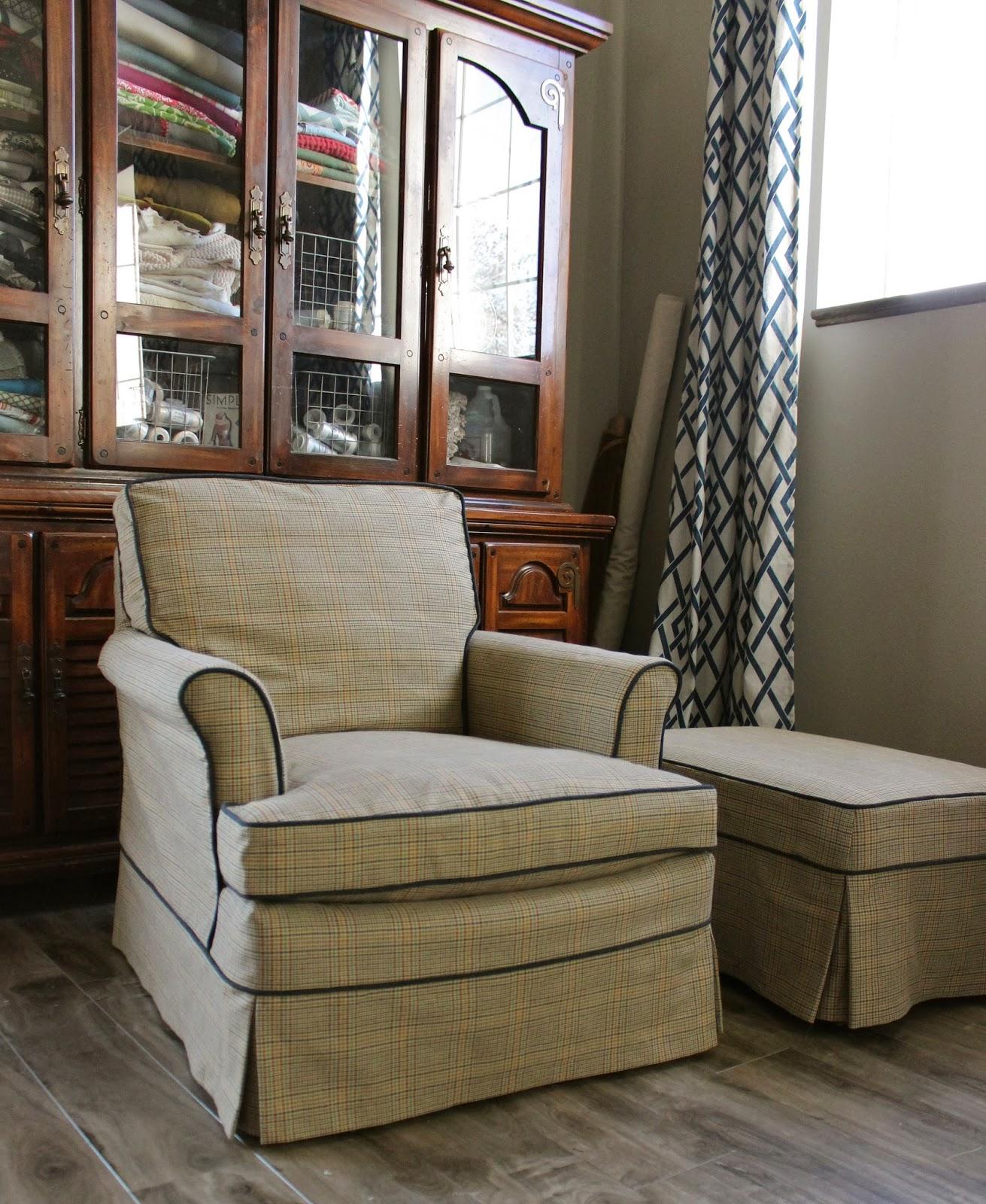 Custom Slipcovers by Shelley Plaid Menswear Chair