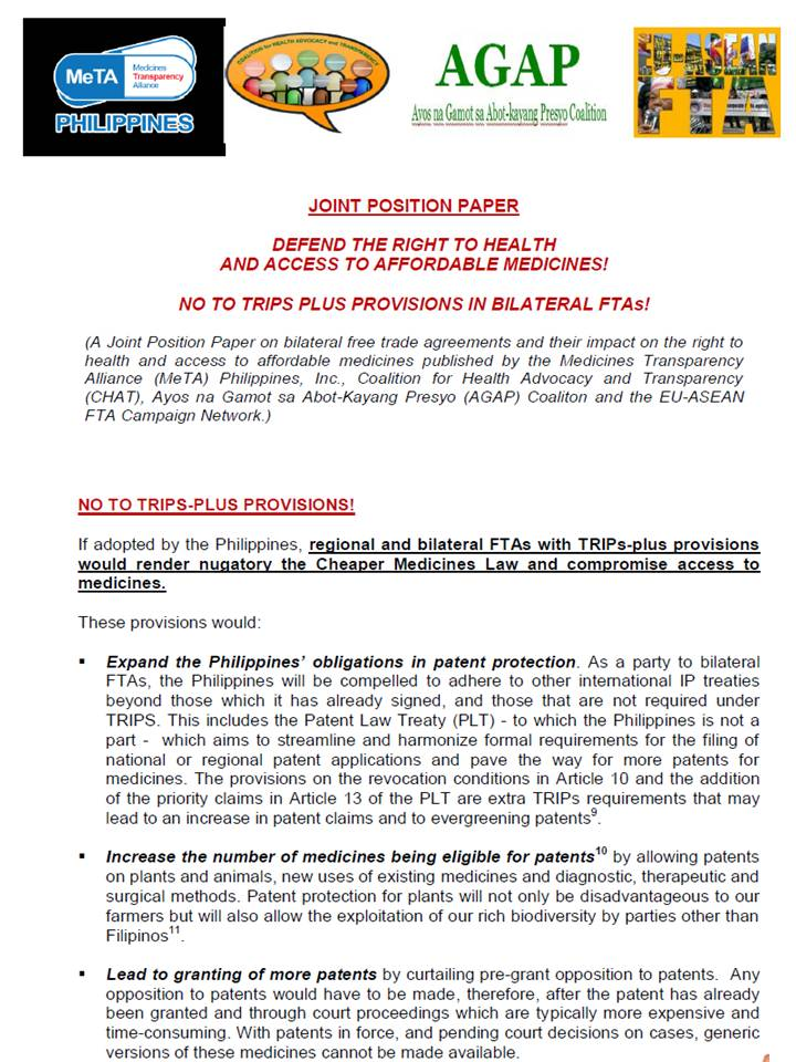 Government And Taxes Free Trade 27 Proposed Eu Ph Fta And Trips Plus