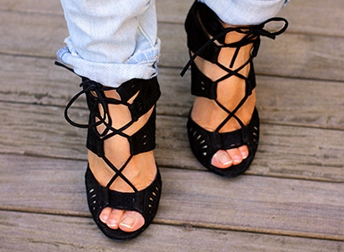 Zara black leather lace up high heel sandals