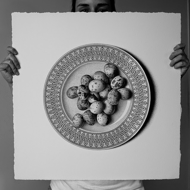 29-Quail Eggs-C-J-Hendry-Hyper-Realistic-Drawings-of-Food-www-designstack-co