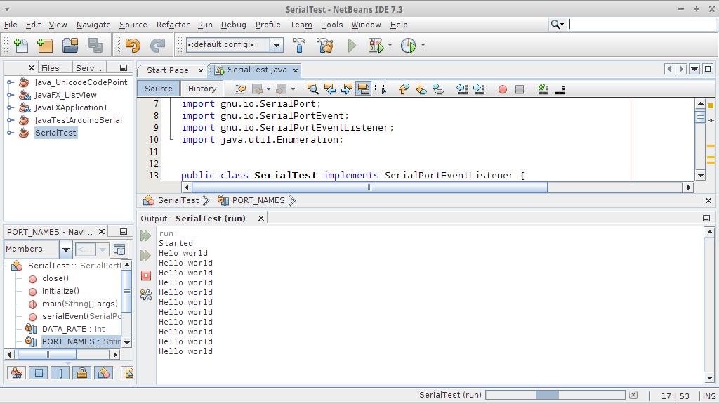 Arduino er setup rxtx for and java example