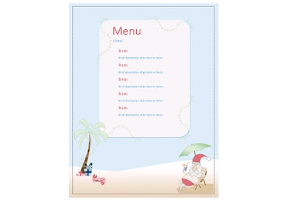 Download Free Party Menu from the Summer Santa Stationery by Robert Aaron Wiley available from Microsoft Office Online