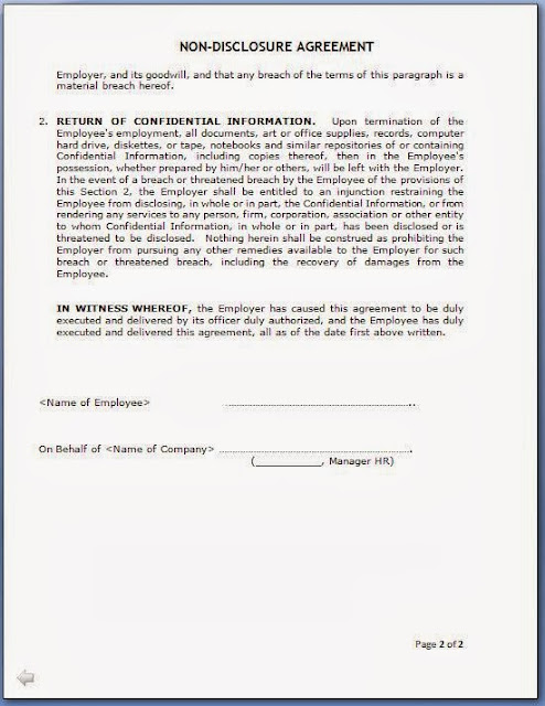 non disclosure agreement for employees format