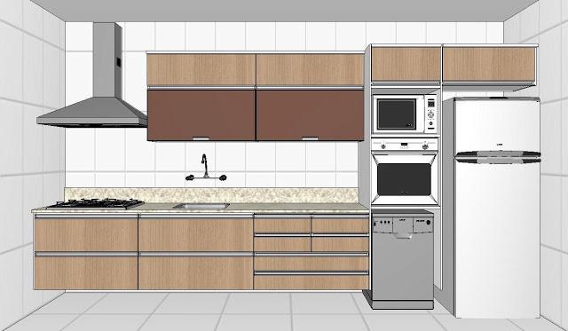 Projeto de cozinha planejada linear