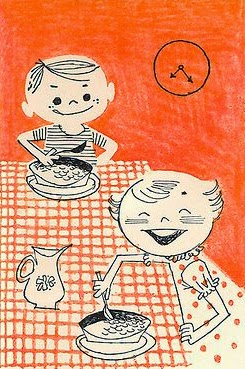 illustration by Albert Aquino of two kids with a breakfast plan