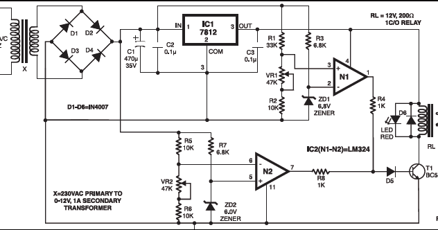 circuit wiring solution  simple over under voltage protection of electrical appliances