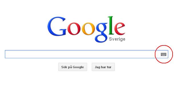 klawiatura w Google Sverige