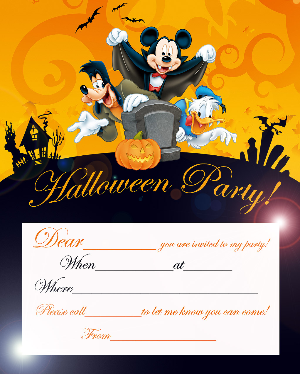 Disney Halloween Party Invitation Card Printable Best Gift Ideas Blog