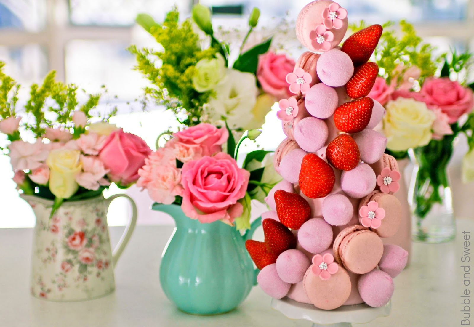 Bubble And Sweet How To Make A Macaron Marshmallow And Strawberry Tower