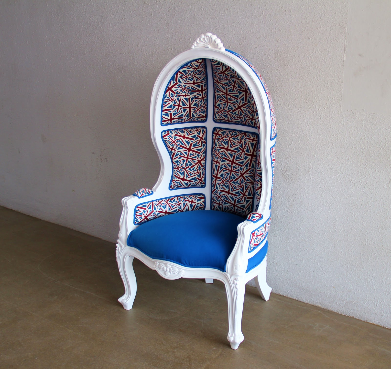 Canopy French Chair That We Reupholster In British Flag. Medium Size Great