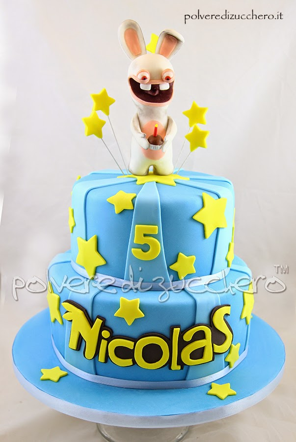 torta decorata rabbids e sweet table rabbids: cake, cake pops e cupcake