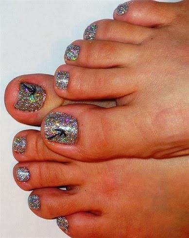 Gelish holo silver pedicure  tiny palm trees I painted on her big toes  LED-polish-manicure-OPI-Nail-Polish-Lacquer-Pedicure-care-natural-healthcare-Gel-Nail-Polish-beauty-Acrylic-Nails-Nail-Art-USA-UK