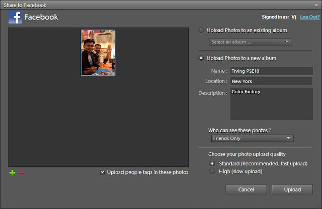 With recent release of Adobe Photoshop Elements, there is a wonderful capability added in organizer where-in we can face tag people in Organizer and same folks will automatically tagged on Facebook. Isn't it Cool? Let's see how it's possible with few clicks.. First of all, just have a look at first image where facebook tagging is happening -Just click on this image to see the large version and note facebook contacts as suggestions... Now, let's see how to achieve this capability in Elements Organizer... Let's go step by steps and hope that you will soon realize the way it works :1. Select a photograph in your Organizer and go to Share Tab on right.2. Click on 'Share to Facebook'3. Following dialog will be shown on clicking Facebook option.4. Now check the option for downloading facebook contacts and click Authorize...5. If you don't read carefully you will click on 'Complete Authorization' button in this dialog, but you are not done. It will show 'Error' dialog as you see below.6. After clicking Authorize, just go to your browser and click Allow button. Here you are authorizing Elements Organizer to use your contacts on Facebook7. When you click Authorize, now click 'Complete Authorization'.8. to continue with your upload, just fill the form shown below. It will information like Album Name, Location and Description etc.9. Click Done and file will be uploaded in few seconds depending upon size selected.10. The dialog shown above will be shown till file gets uploaded. After this, your Photograph should be visible on your Wall. But one thing would be missing :) ... No Face tags as of now :11. Now just go to Face Recognition workflow and see if you are able to see Facebook names while tagging faces. If, not Download contacts again by clicking 'Download/Update friends list to name people'.12. It will simply update your local contacts with all friends on Facebook. Go ahead with your tagging and whenever you upload tagged photographs, people will automatically be tagged on facebook. No extra effort after upload workflow.Time to try it out with your photographs and share your experiences.