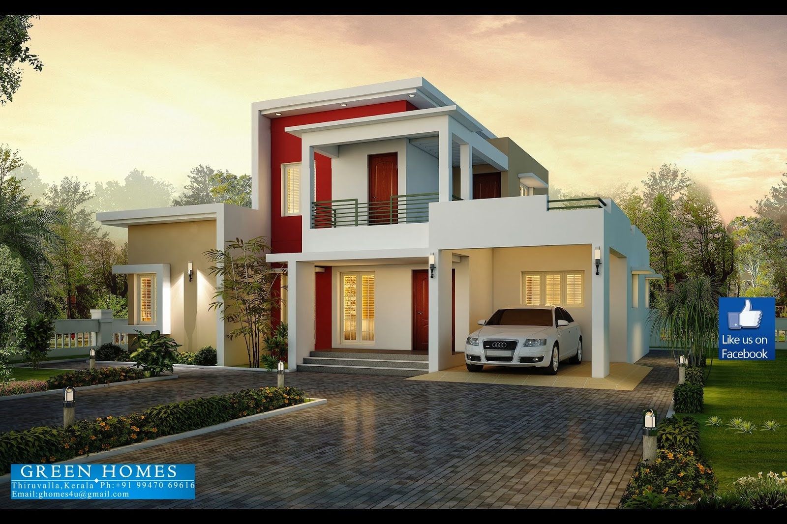 green+homes+construction,Thiruvalla - Download Modern 3 Bedroom House Plans With Photos  Pics