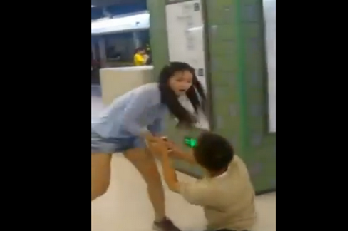 gf drags bf in china subway