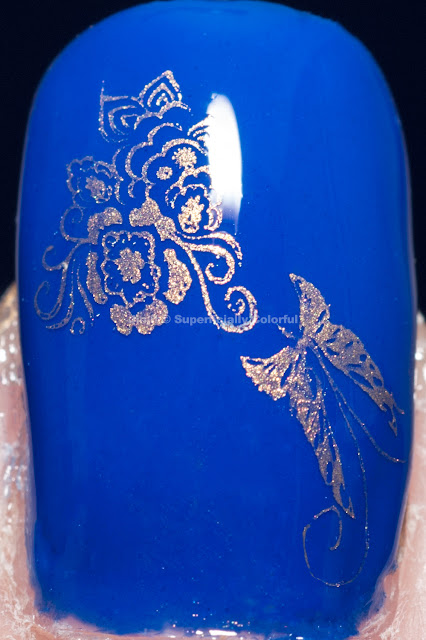 Elevation Polish Pic De Sotllo stamped with MoYou Special Gold Nail Polish