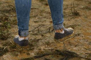 Nude Selfie - Teen muddy shoes