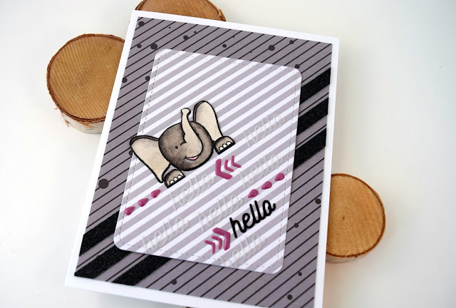 Elephant Hello Card by Jess Gerstner using Create a Smile Stamps Poppin Over