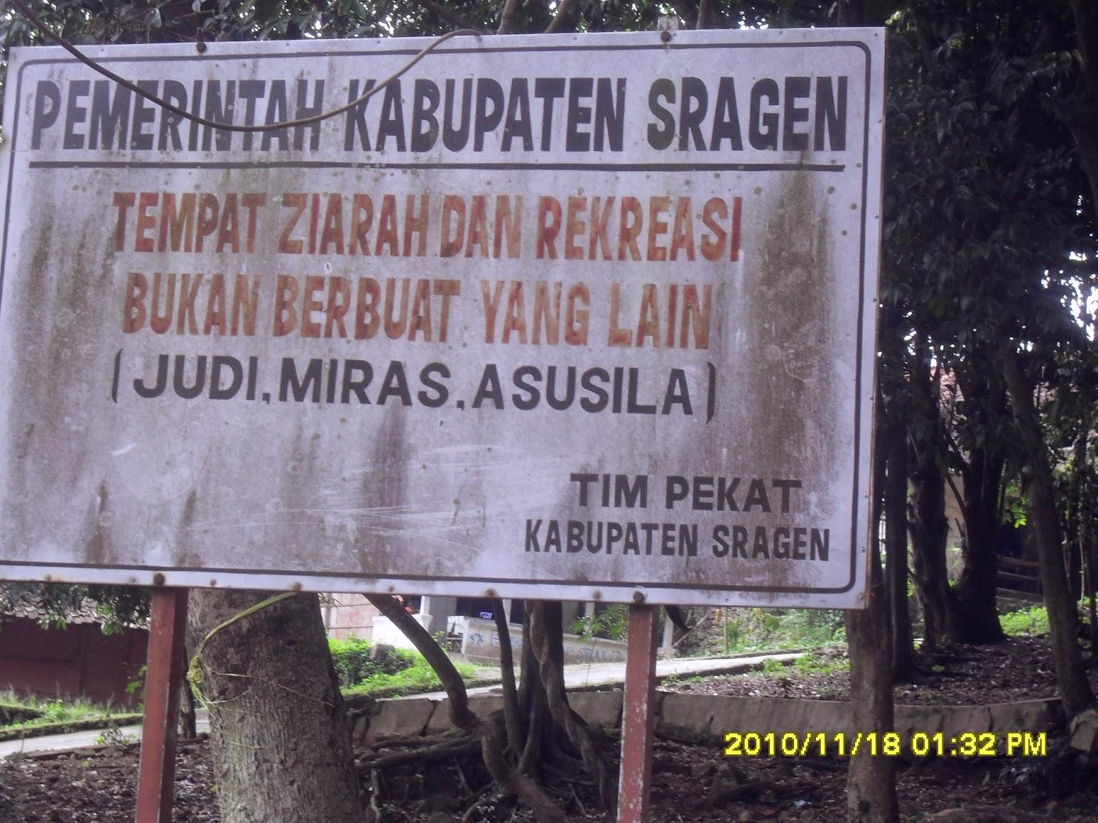 Papan Peringatan dari Pemkab Sragen