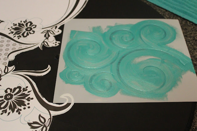 swirl stencil, teal paint