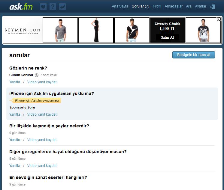 ask.fm sorular sayfası