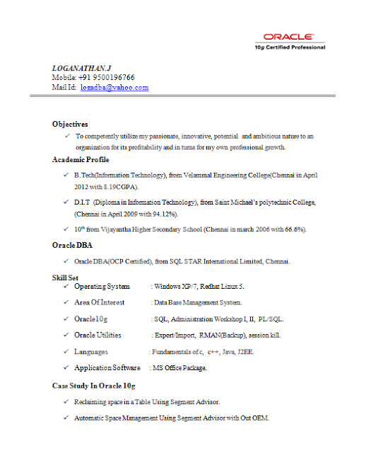 Oracle Certified Professional Resume – Sample Resume for Oracle Dba