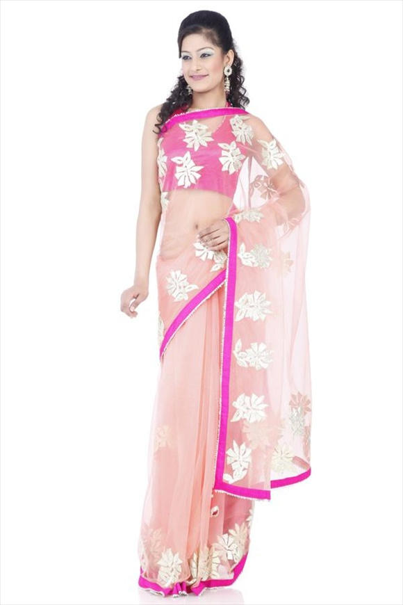 new Peach Net Saree