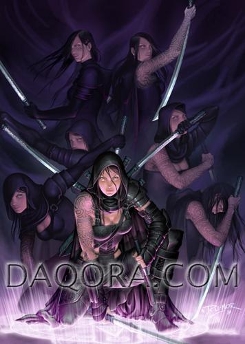 Ilustración de personaje hecha por ªRU-MOR para el juego de Cartas de ÉPICA. Edades Oscuras, donde aparece Shara (del clan uri) realizando la técnica de la multiplicación
