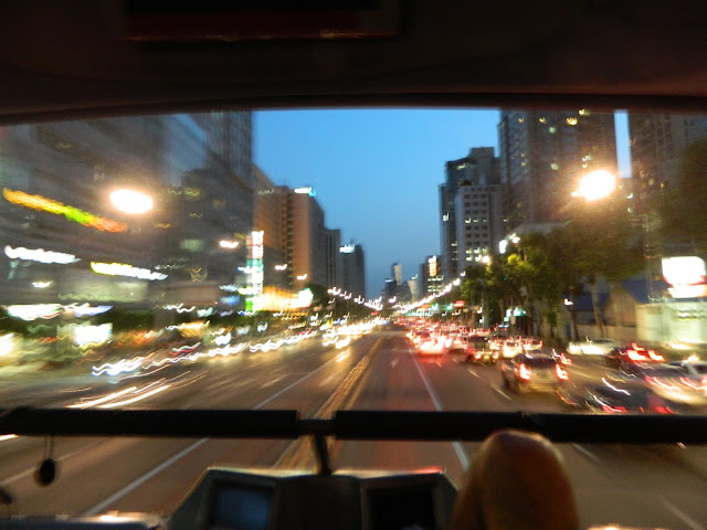 Super shot of night time Seoul from the Seoul tour bus