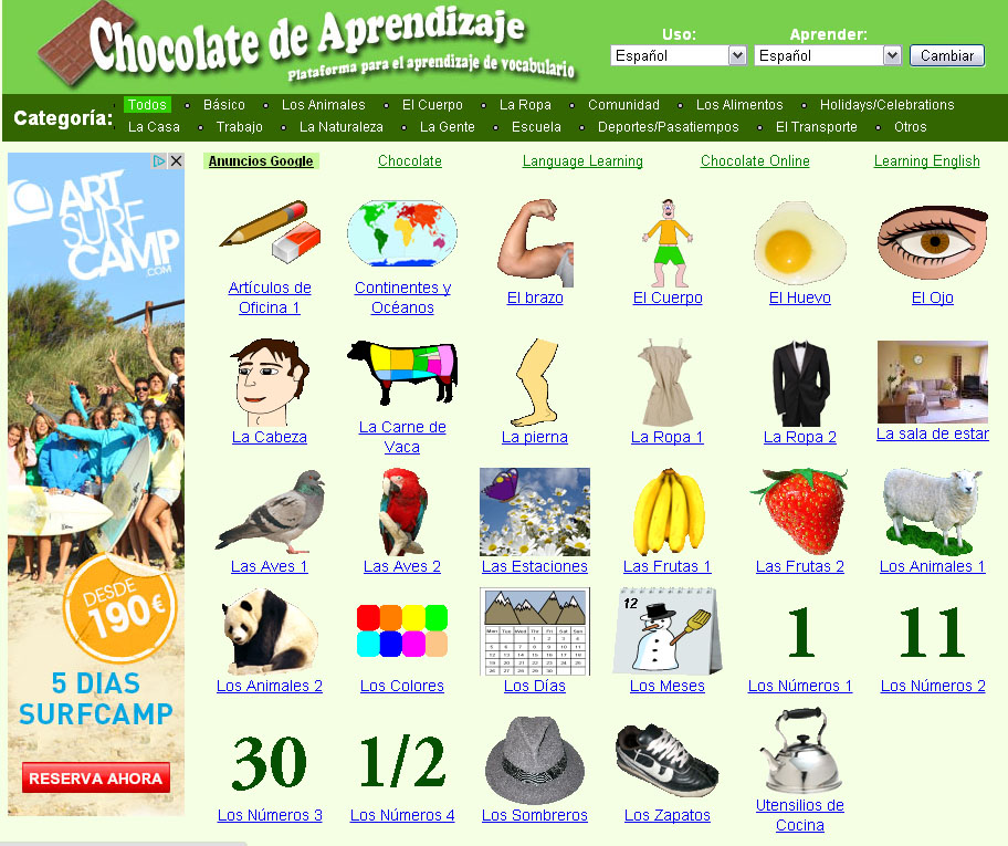 Aprende idiomas gratis vocabulario con 39 learning chocolate 39 for Ingles en la oficina