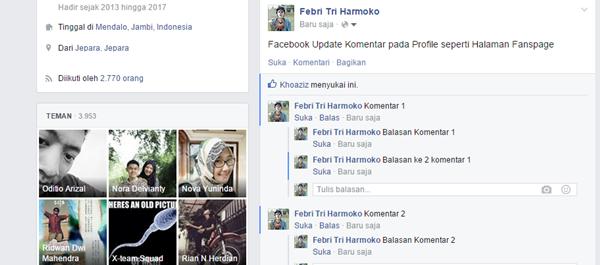 Facebook Update fitur berbalas komentar pada postingan profile sama seperti halaman Fanspage