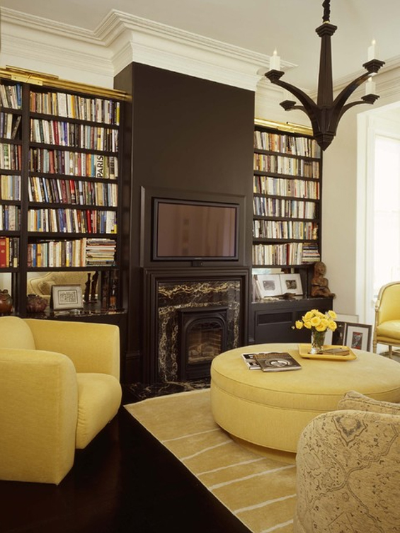 Dream house lovely libraries sugar darling - Black and yellow living room ...
