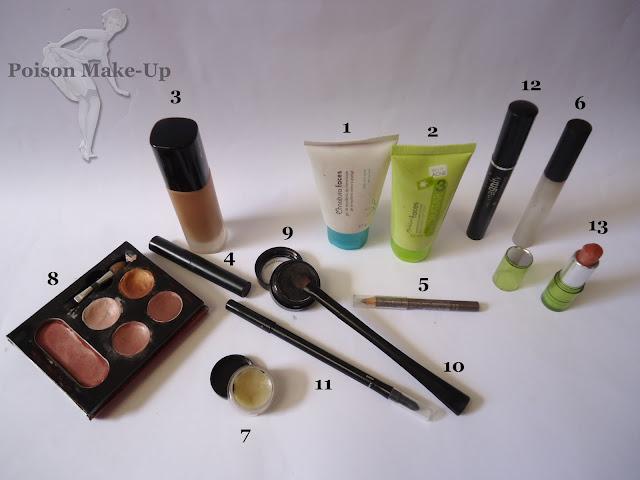 Produtos usados na make com sombra preta e dourada