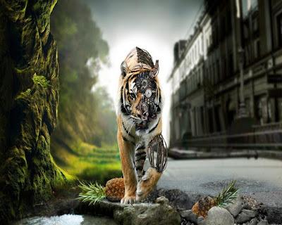 HD Creative Design Wallpaper - Tiger Machine