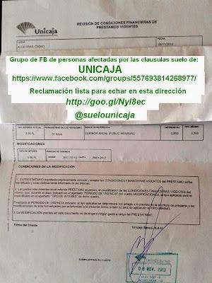 Modificación de contrato hipotecario de Unicaja noviembre 2013