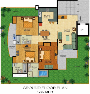 Emerald Court :: Floor Plans,Aster / Bluestone 1:-Ground Floor Plan3 Bedrooms, 3 Toilets, Kitchen, Dining, Drawing,2 Balconies, Private Lawn Area - 1750 Sq. Ft.