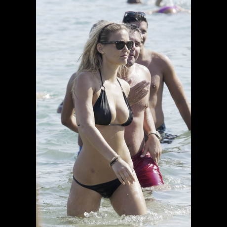 Bar Refaeli - Black Bikini in Greece