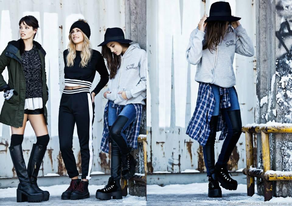 Zapatos, botas y borcegos 47 Street otoño invierno 2015. Moda otoño invierno 2015 juvenil.