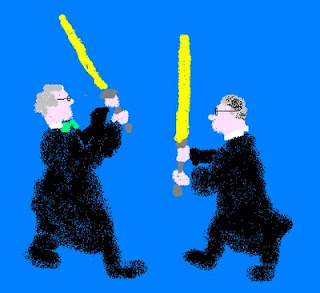 cartoon of judges fighting with light sabers
