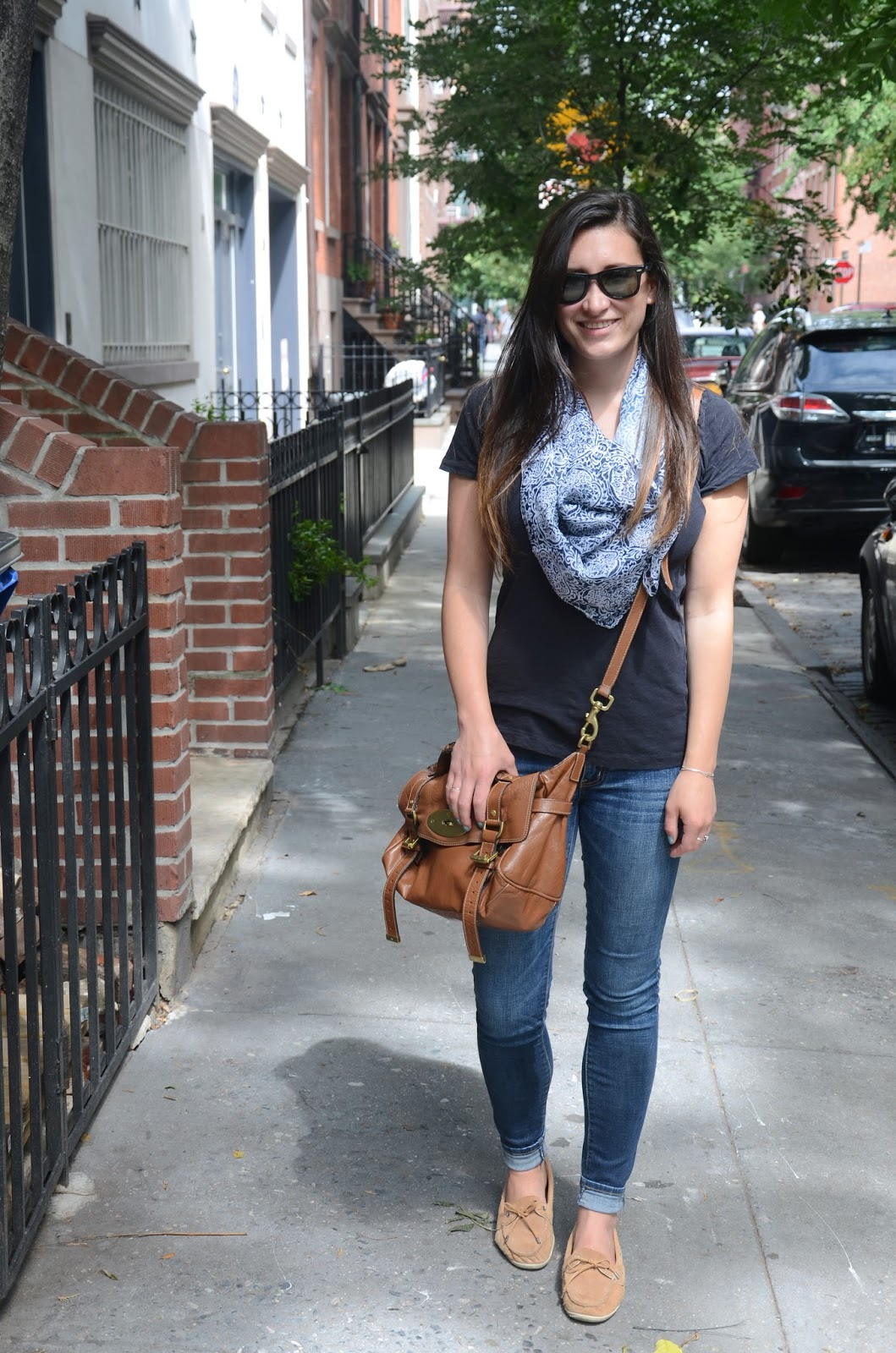 saturday stroll | black tee, printed scarf, + jeans