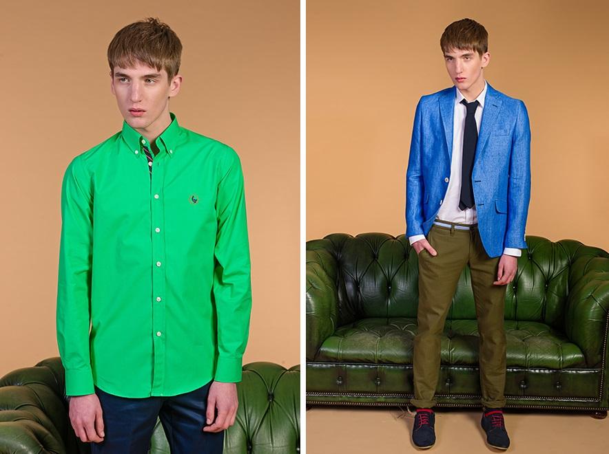 chaquetas verde y azul fluor