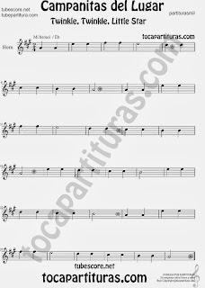 Partitura de Campanitas del Lugar para Trompa y Corno en Mi bemol  Villancico Christmas Carol Song Twinkle twinkle little Sheet Music for Horn and French Horn Music Scores