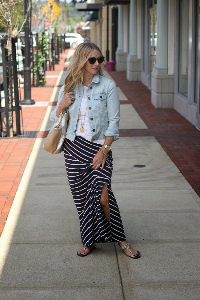 jcrew jean jacket, jcrew linen tee, loft maxi skirt, tory burch sandals, julie vos coin necklace
