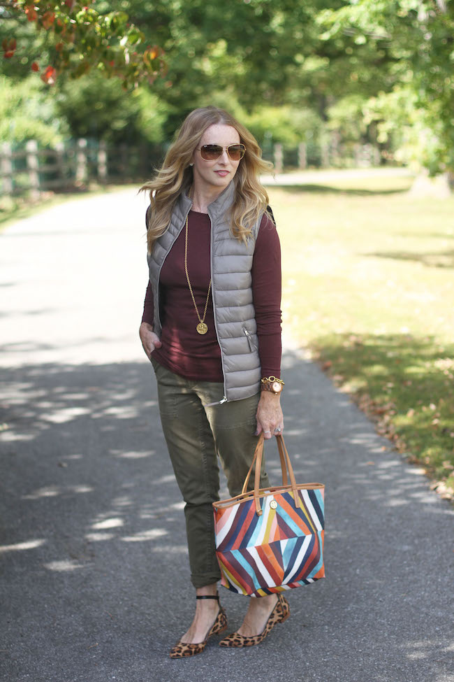 jcrew tee, mango vest, jcrew pants, tory burch handbag, julie vos necklace