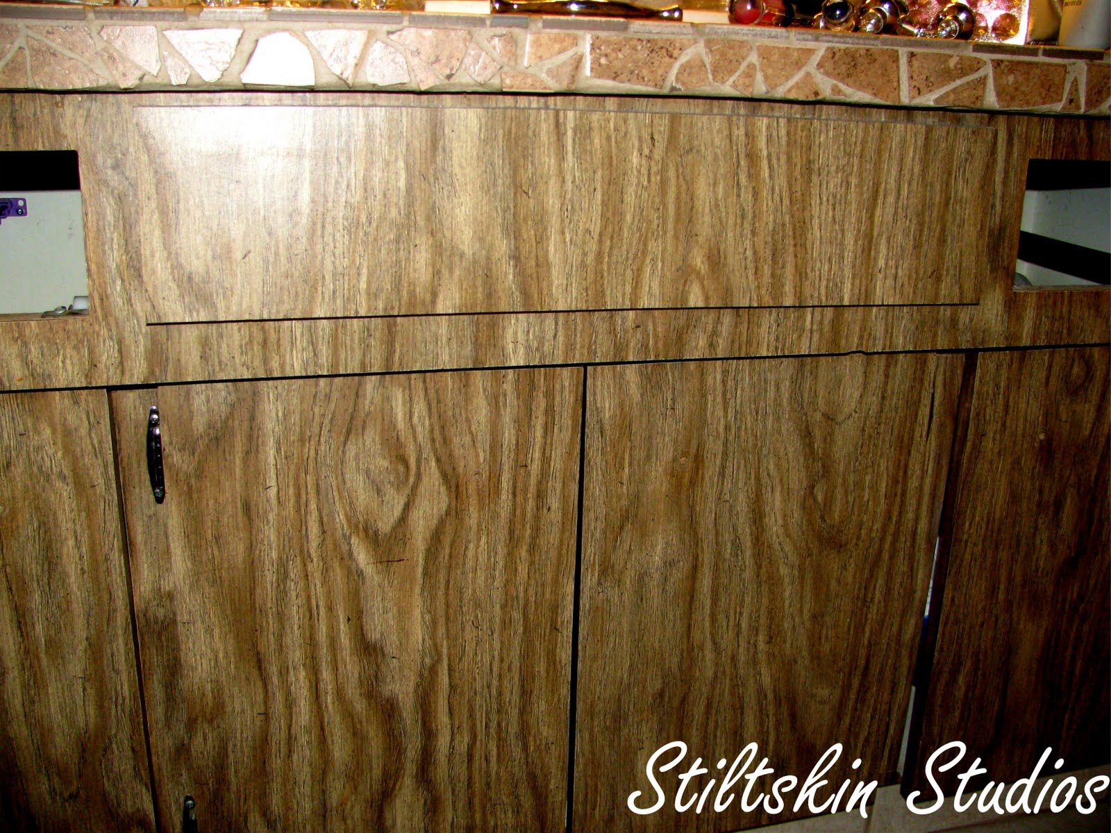 Image of painting laminate cabinets formica wi diy for Can you paint wood veneer kitchen cabinets