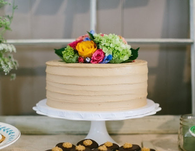 Rustic Horizontal Lines Buttercream Styled Cake