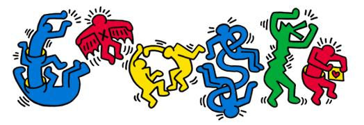 Keith Haring Google Doodle - Celebrating his 54th Birthday