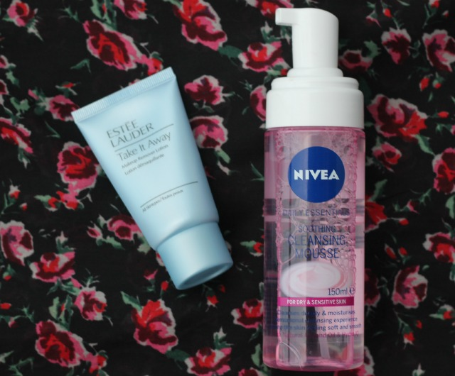 estee lauder, take it away, makeup removing lotion, nivea, daily essentials, soothing and cleansing mousse, review, swatches, compare, high end, low end, drug store