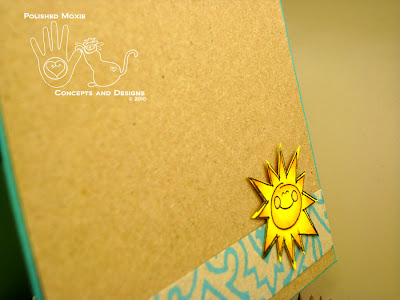 Picture of close up of sun on inside of the card